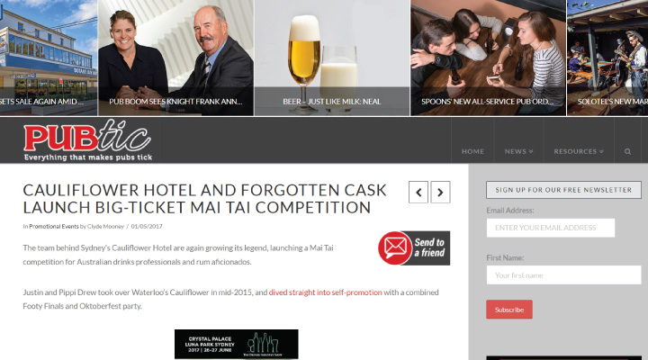 image of The Cauliflower Hotel featured on PUBTIC
